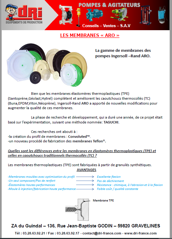 Plaquette pompes à membranes ARO 2