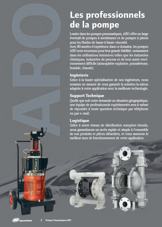 Plaquette pompes à membranes ARO 4