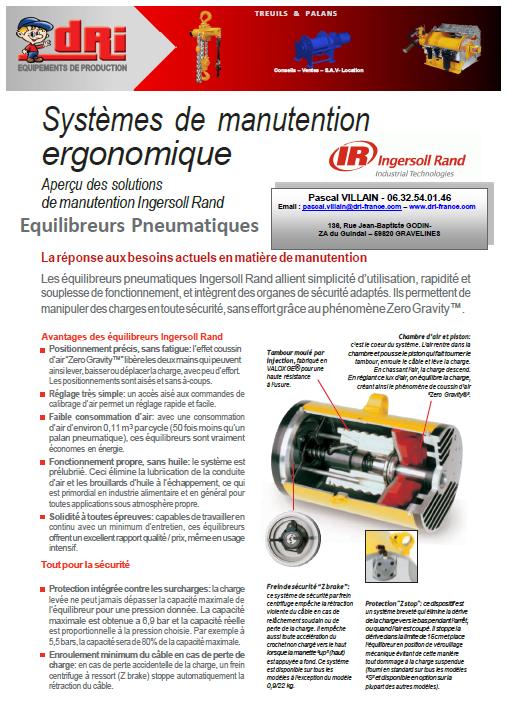 Plaquette Manutention ergonomique