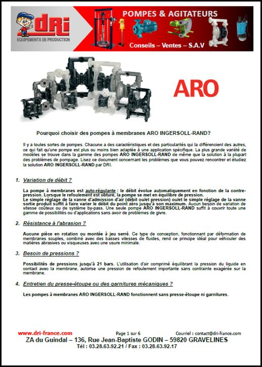 Plaquette pompes à membranes ARO
